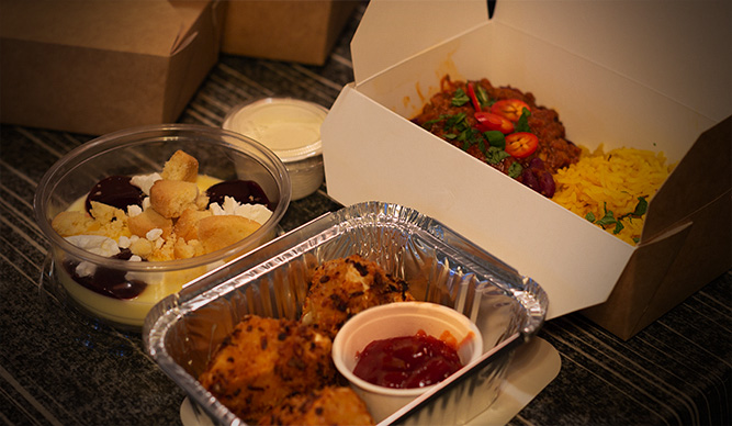 Takeaway meal in boxes
